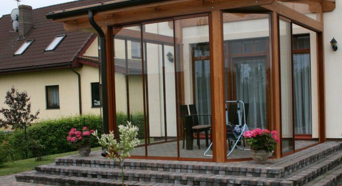 Veranda with glass roof