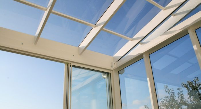 Sunroom with glass roof